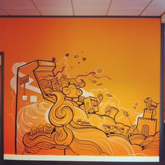 Sumo Mural - shown here in office but great in a kid's room or toy room (oh wait, is there a difference?)