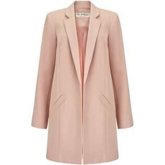 Blush Duster Coat ($85) ❤ liked on Polyvore featuring outerwear, coats, miss selfridge, pink coat, miss selfridge coats and duster coat