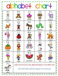 Alphabet Chart to put in Writing Folders