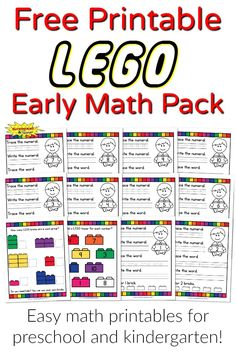 A free printable LEGO early math pack for preschool and kindergarten.