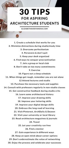 30 Tips For Aspiring Architecture Students Free Printable List