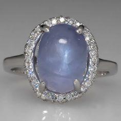 Star Sapphire Engagement Ring w/ Diamond Halo 14K White Gold - EraGem