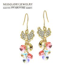 Neoglory Austria Crystal & Rhinestone Drop Earrings Light Yellow Gold Color Colorful Elegant Style For Lady Gift Geometric Sale