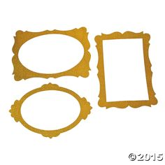 Gold Glitter Giant Picture Frame Cutouts - 3 Pk Party Supplies Canada - Open A Party