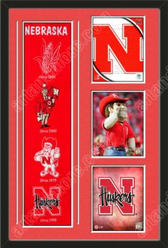 One framed University of Nebraska heritage banner with three 8 x 10 inch University of Nebraska photos of University Of Nebraska Team Logo, double matted in team colors to 22 x 34 inches.  The lines show the bottom mat color.  $189.99 @ ArtandMore.com