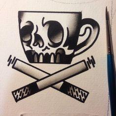 Done by Pablo Sinalma, tattoo artist Gold Street Tattoo Studio (Barcelona)… Coffee Drawing, Coffee Painting, Coffee Signs, Coffee Meme, Coffee Barista, Starbucks Coffee, Coffee Quotes, Iced Coffee, Coffee Drinks