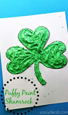 Learn how to make a green shamrock with puffy paint! This is a fun st. patricks day craft for kids to make. All you need is shaving cream, glue, and food coloring. patricks day food for kids Puffy Paint Shamrock Craft For Kids - Crafty Morning March Crafts, St Patrick's Day Crafts, Daycare Crafts, Classroom Crafts, Spring Crafts, Daycare Ideas, Classroom Activities, Library Activities, Spring Art