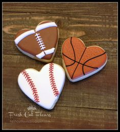 Sports Enthusiast Valentine's Day Hearts hand decorated sugar cookies on Etsy, $30.00