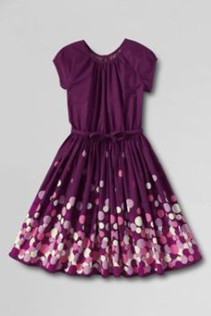 Girls' Short Sleeve Woven Twirl Dress from Lands' End. Available in toddler sizes through size 16. Multiple colors and fabrics available.