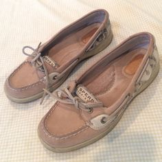 Adorable tan Sperry Topsiders Cute Sperry shoes! Tan with discreet cheetah sequin detailing on the sides. Lightly worn, pretty good condition Sperry Top-Sider Shoes