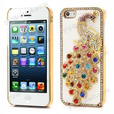 Bling Diamond 3D Peacock Leather Coated Plated Hard Case for iPhone 5 - White $4.76