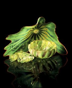 | Chihuly-Leaf Green Persian Set with Orange Lip Wraps, 1992, 21 x 23 x 22""