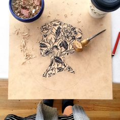Cameo woodcut WIP