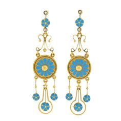 Antique Archaeological Revival Etruscan Taste Enamel Dangle Earrings in sky blue, champlevé enamel applied over 14k yellow gold.