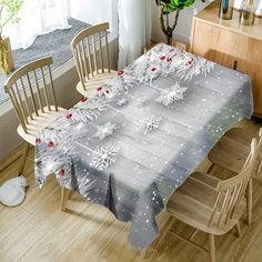 Christmas Snowflake Ornaments Print Waterproof Table Cloth - Silver Gray W54 Inch * L72 Inch Mobile