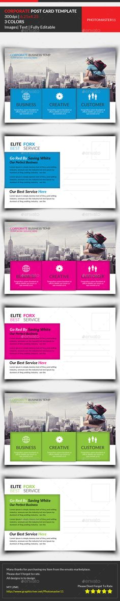 Buy Corporate Postcard Template by on GraphicRiver. Corporate Postcard Template Features CMYK Color Mode 300 DPI Resolution Size Bleed in Each Side Free . Web Ui Design, Layout Design, Print Design, Print Print, Flat Design, Postcard Template, Postcard Design, Business Postcards, Business Cards