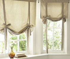 Find more ideas: Shabby Chic kitchen curtains Vintage kitchen curtains Country kitchen curtains Kitchen curtains with blinds Long rustic kitchen curtains # kitchen design # kitchen kitchens # window treatments. Tie Up Curtains, Small Window Curtains, Damask Curtains, Nursery Curtains, Small Windows, Curtains With Blinds, Bathroom Curtains, Neutral Curtains, Blinds Diy
