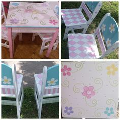 Wooden  Custom  Childrens TABLE and CHAIR set by spoiltrottn, $285.00