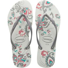 Havaianas Slim Season ($26) ❤ liked on Polyvore featuring shoes, sandals, flip flops, chinelos, flats, women, flat shoes, flower print shoes, floral print flats and flats sandals