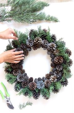 Easy & long lasting DIY pinecone wreath: beautiful as Thanksgiving & Christmas decorations & centerpieces. Great pine cone crafts for fall & winter! - A Piece of Rainbow # Easy DIY wreath Beautiful Fast & Easy DIY Pinecone Wreath ( Impr Holiday Wreaths, Holiday Crafts, Fall Crafts, Easy Fall Wreaths, Noel Christmas, Christmas Ornaments, Winter Christmas, Christmas Quotes, Christmas Stage