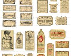 Sofortigen Download digitale Collage Blatt Antik 1800 Vintage Apotheker Apotheker Apotheke Mini Miniatur Flaschen Etiketten Halloween 50 % (89)