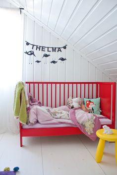 i think when the baby's old enough for a toddler bed, it'll be getting painted red.