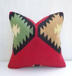 Red Kilim Throw Pillow