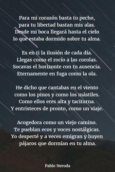 Poemas de pablo neruda 12 Neruda Love Poems, Neruda Quotes, Spanish Love Poems, Spanish Quotes, Reading Practice, French Language Learning, Self Improvement Tips, Sad Love, Poetry Quotes