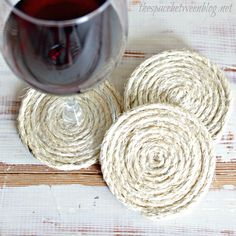 sisal coasters ... great diy gift idea All you need: sisal, hot glue and scissors How to: put a dab of hot glue on the end of the sisal and start rolling, hot glue every so often and keep rolling.