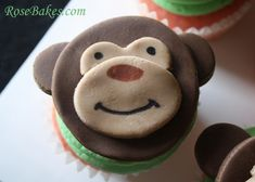Gender Neutral Monkey Face Baby Shower Cupcakes!  Click over for more pics, the theme and a list of supplies to make them yourself!