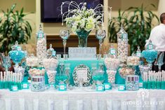 Blue wedding candy bar with updated twist. See more wedding candy buffets and party ideas at www.one-stop-party-ideas Tiffany Party, Tiffany Wedding, Tiffany Blue, Candy Bar Wedding, Wedding Favors, Wedding Decorations, Wedding Ideas, Wedding Poses, Wedding Pictures