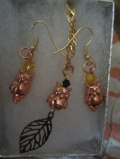 Copper and Gold with Swarovski Necklace/Earring Set  $25.00