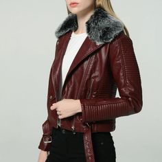 2019 Hot Women Winter Warm Faux Leather Jackets with Fur Collar Lady White Black Pink Wine Red Motorcycle Biker Outerwear Coats Style: Moto & BikerOuterwear Type: Leather & SuedeModel Number: Type: zipperMaterial: Faux LeatherSleev Faux Fur Collar, Fur Collars, Coats For Women, Jackets For Women, Denim Shorts Outfit, Mode Mantel, Outerwear Women, Fur Jacket, Moto Jacket