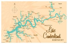 Lake Cumberland, KY Map 17x11 Print. Professional-grade digital print on heavy parchment paper with matte finish. www.lakebound.org