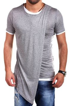 Asymmetric Top Fly Color Spliced Round Neck Short Sleeves Slimming T-Shirt For Men T-shirts | RoseGal.com Mobile