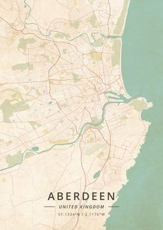 Aberdeen, United Kingdom - Vintage Map Art Print by Designer Map Art - X-Small Flat Picture, Picture Frames, Buy Frames, Map Art, Homeland, Dream Life, United Kingdom, Gallery Wall