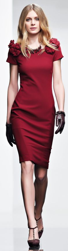 Twin-Set FW 2015-16 burgundy women fashion outfit clothing style apparel @roressclothes closet ideas