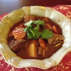 Beef and Irish Stout Stew- This stew is great for St. Patrick's Day.  The mixture of the beef and Guinness is awesome!  I usually add more beer than the recipe calls for. Serve with mashed potatoes.