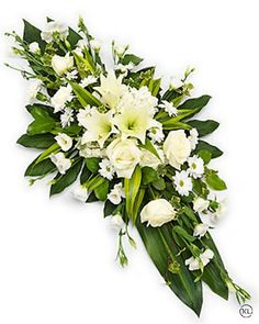 White Lily Double Ended Spray - Funeral Flowers London Funeral Floral Arrangements, Church Flower Arrangements, Church Flowers, Flowers For Funeral, Casket Flowers, Silk Flowers, White Flowers, Beautiful Flowers, Flowers London