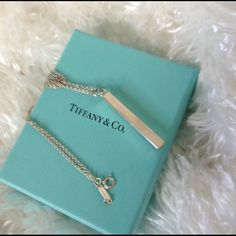 """Tiffany & Co Bar Pendant Necklace Authentic T&C sterling silver stamped 925 bar pendant in excellent used condition NO original box..........✨Listing is for pendant and original T&Co 16"""" chain✨ Tiffany & Co. Jewelry Necklaces"""