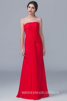 b5a371f96608 Straight Across Pleated Strapless Red Chiffon Modern Long Bridesmaid Dress