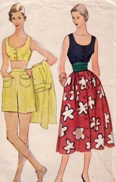 1950s Summertime Separates Pattern SIMPLICITY 3239 Bare Shoulder Blouse And Bra Shorts Skirt Mother Daughter Fashion Bust 30