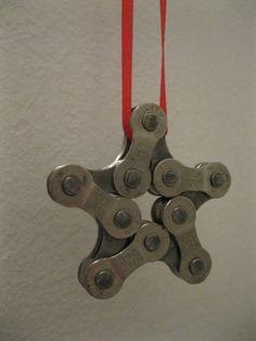 Recycled Bike Chain Star Ornament