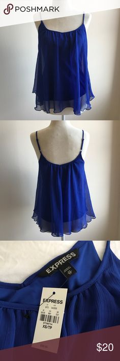 Express blue tank top - NWT!! 100% polyester. Machine wash. NWT - Express flowy soft top. Excellent condition. --- No pets, clean home. -- Accepting offers! Express Tops