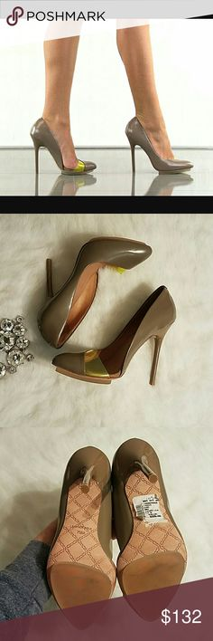 L.A.M.B. Stunning Heels Amazing and perfect condition. Fabulous. Statement. Rich. Classy. Tan/cream color with a touch of yellow/green neon. All words that describe these perfection shoes! Make an offer! L.A.M.B. Shoes Heels