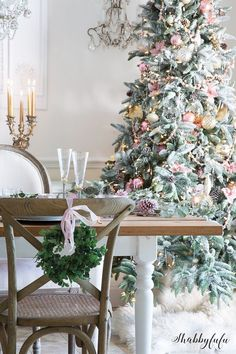 Christmas Tree, Pink & Gold Ornaments, Flocked Tree, Traditional Tree, Theme, Farmhouse Style