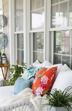 Summer Front Porch-Coral & Aqua Pillows with Whites