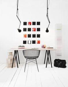 "stylish and organized (via Home Office / home office ♥)  Love the lights...gives it a ""drafting"" architect/engineer feel...."