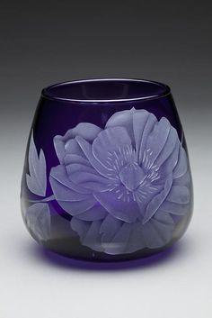 Dahlia art glass by Cynthia Myers