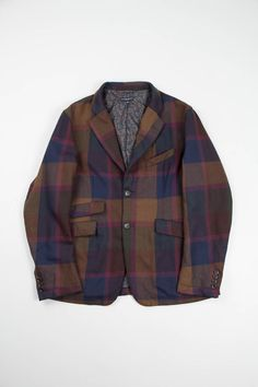 Brown/Navy Wool Twill Plaid B2B Jacket | Engineered Garments